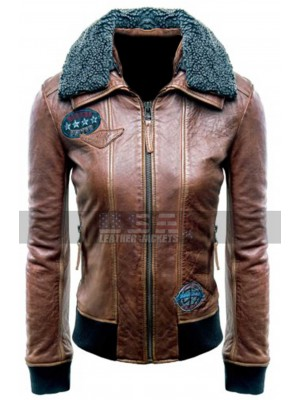 Justice League (Champion of Justice) Womens Bomber Aviator Brown Leather Jacket
